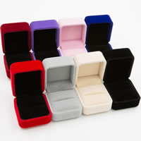 Velveteen Single Ring Box with Glue Film Rectangle 50x55x40mm 15PCs/Lot