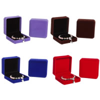 Velveteen Bracelet Box, with Glue Film, Square, more colors for choice, 95x95x50mm, 10PCs/Lot, Sold By Lot