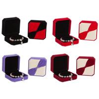 Pluszowe pudełko na bransoletkę, Welwet, ze klej Film, Kwadrat, dostępnych więcej kolorów, 90x90x40mm, 10komputery/wiele, sprzedane przez wiele