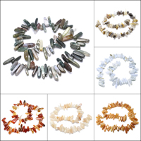 Gemstone Jewelry Beads, Nuggets, different materials for choice, 7x18x4mm-8x27x7mm, Hole:Approx 1mm, Approx 70PCs/Strand, Sold Per Approx 15.5 Inch Strand