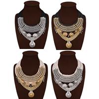 Сеть Тканые ожерелье, Нейлоновый шнурок, с Кристаллы & цинковый сплав, с 3.9lnch наполнитель цепи, Другое покрытие, Женский & граненый & со стразами, Много цветов для выбора, не содержит никель, свинец, 110mm, Продан через Приблизительно 18.1 дюймовый Strand