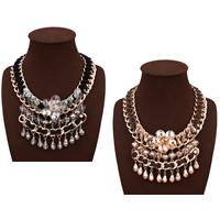 Сеть Тканые ожерелье, цинковый сплав, с шерстяной шнур & Кристаллы, с 3.9lnch наполнитель цепи, плакирован золотом, Женский & граненый & со стразами, Много цветов для выбора, не содержит никель, свинец, 90mm, Продан через Приблизительно 18.1 дюймовый Strand