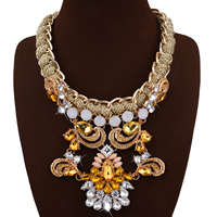 Мода себе ожерелье, цинковый сплав, с волокно & Кристаллы & канифоль, с 3.1lnch наполнитель цепи, плакирован золотом, Женский & граненый & со стразами, не содержит никель, свинец, 120mm, Продан через Приблизительно 18.8 дюймовый Strand