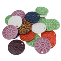 Porcelain Pendants, Flat Round, glazed, mixed colors, 42x6mm, Hole:Approx 3mm, 20PCs/Bag, Sold By Bag
