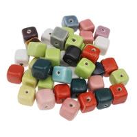 Przeszklone porcelanowe koraliki, Porcelana, Kwadrat, Szkliwione, mieszane kolory, 14x14mm, otwór:około 1mm, 20komputery/torba, sprzedane przez torba