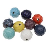 Koraliki porcelanowe European, Porcelana, Koło, Szkliwione, falisty, mieszane kolory, 32mm, otwór:około 5mm, 10komputery/torba, sprzedane przez torba
