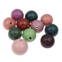 Фарфоровые бусины Европейская стиль, фарфор, Круглая, покрытый глазурью, разноцветный, 32-36mm, отверстие:Приблизительно 4mm, 10ПК/сумка, продается сумка