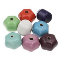 Koraliki porcelanowe European, Porcelana, Heksagram, Szkliwione, mieszane kolory, 37x27mm, otwór:około 5mm, 10komputery/torba, sprzedane przez torba