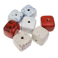 Фарфоровые бусины Европейская стиль, фарфор, Куб, покрытый глазурью, разноцветный, 36x33mm, отверстие:Приблизительно 5mm, 10ПК/сумка, продается сумка