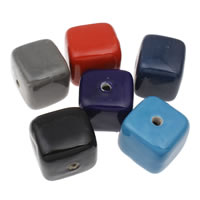 Przeszklone porcelanowe koraliki, Porcelana, Kostka, Szkliwione, mieszane kolory, 36x33mm, otwór:około 1mm, 10komputery/torba, sprzedane przez torba