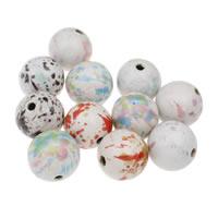 Koraliki porcelanowe European, Porcelana, Koło, Szkliwione, mieszane kolory, 34mm, otwór:około 4mm, 10komputery/torba, sprzedane przez torba