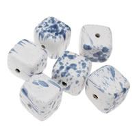 Фарфоровые бусины Европейская стиль, фарфор, Куб, покрытый глазурью, смешанная картина, голубой, 36x32mm, отверстие:Приблизительно 5mm, 5ПК/сумка, продается сумка