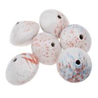 Koraliki porcelanowe European, Porcelana, Płaskie koło, Szkliwione, mieszane kolory, 42x30mm, otwór:około 5mm, 5komputery/torba, sprzedane przez torba