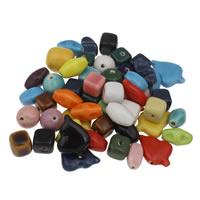 Przeszklone porcelanowe koraliki, Porcelana, Szkliwione, mieszane, 14-20x25mm, otwór:około 1-3mm, około 180komputery/KG, sprzedane przez KG
