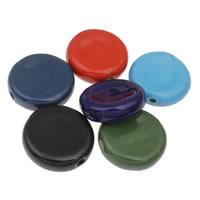 Фарфоровые бусины Европейская стиль, фарфор, Плоская круглая форма, покрытый глазурью, Много цветов для выбора, 41x13mm, отверстие:Приблизительно 4mm, 10ПК/сумка, продается сумка