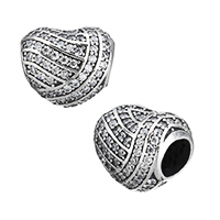 925 Sterling Silver European Beads, Heart, micro pave cubic zirconia & without troll, 11x9.50x9mm, Hole:Approx 4.5mm, Sold By PC