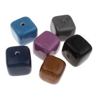 Фарфоровые бусины Европейская стиль, фарфор, Куб, покрытый глазурью, Много цветов для выбора, 36x33mm, отверстие:Приблизительно 4mm, 5ПК/сумка, продается сумка