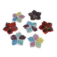Porcelanowe koraliki, Porcelana, Kwiat, ręczny rysunek, mieszane wzór, 64x64x5mm, otwór:około 2mm, 10komputery/torba, sprzedane przez torba