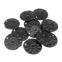 Wisiorki porcelany, Porcelana, Płaskie koło, Szkliwione, czarny, 42x6mm, otwór:około 3mm, 10komputery/torba, sprzedane przez torba