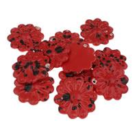 Wisiorki porcelany, Porcelana, Kwiat, Szkliwione, czerwony, 52x55x18mm, otwór:około 2mm, 10komputery/torba, sprzedane przez torba