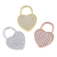 Cubic Zirconia Micro Pave Brass Pendant, Heart, plated, micro pave cubic zirconia & hollow, more colors for choice, nickel, lead & cadmium free, 14x20x3mm, Hole:Approx 6x6mm, Sold By PC