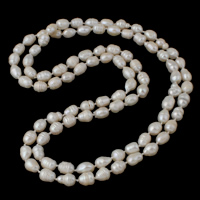 Natural Freshwater Pearl Long Necklace, Baroque, white, 7-10mm, Sold Per Approx 51.5 Inch Strand