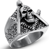 Men Finger Ring, Titanium Steel, Skull, different size for choice & for man & blacken, 21mm, 3PCs/Lot, Sold By Lot