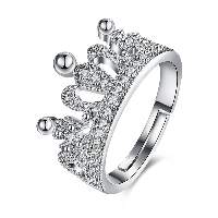 comeon® Finger Ring, Brass, Crown, platinum plated, adjustable & for woman & with rhinestone, nickel, lead & cadmium free, 3mm, US Ring Size:8, Sold By PC