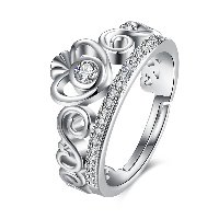 comeon® Finger Ring, Brass, Crown, platinum plated, adjustable & for woman & with rhinestone, nickel, lead & cadmium free, US Ring Size:8, Sold By PC