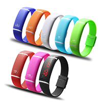 LED Light Watch, Silicone, more colors for choice, 20x10mm, 18mm, Length:Approx 9.4 Inch, Sold By PC
