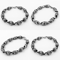 Men Bracelet, Titanium Steel, different styles for choice & for man & blacken, 9mm, Length:Approx 8.6 Inch, 3Strands/Lot, Sold By Lot
