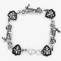 Men Bracelet, Titanium Steel, for man & blacken, 17mm, Sold Per Approx 8.4 Inch Strand