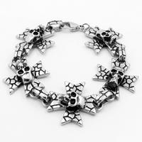 Men Bracelet, Titanium Steel, Skull Cross, for man & blacken, Sold Per Approx 8.7 Inch Strand