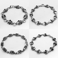 Men Bracelet, Titanium Steel, Skull, different styles for choice & for man & blacken, Sold Per Approx 8.9 Inch Strand
