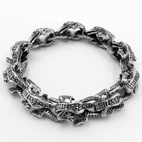 Men Bracelet, Titanium Steel, Crocodile, for man & blacken, Sold Per Approx 9.2 Inch Strand