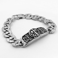 Men Bracelet, Titanium Steel, for man & blacken, Sold Per Approx 8.6 Inch Strand