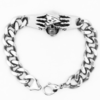 Men Bracelet, Titanium Steel, Skull, curb chain & for man & blacken, 55mm, Sold Per Approx 8.7 Inch Strand