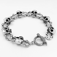 Men Bracelet, Titanium Steel, Skull, for man & blacken, 16mm, Sold Per Approx 10 Inch Strand