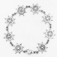 Men Bracelet, Titanium Steel, Ship Wheel, for man & blacken, 24mm, Sold Per Approx 8.6 Inch Strand