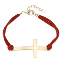 Zinc Alloy Bracelet with Velveteen with 4cm extender chain Cross gold color plated red lead   cadmium free 46x21x2mm Sold Per Approx 7 Inch Strand