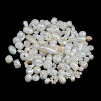 ABS пластмассовые Бусины, ABS пластик жемчужина, белый, 5x10mm-10x30mm, отверстие:Приблизительно 2-5mm, Приблизительно 600ПК/сумка, продается сумка