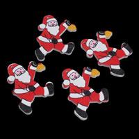 Деревянные Подвески, деревянный, Санта Клаус, принт, Рождественские украшения, 40x50x2mm, отверстие:Приблизительно 1mm, 1000ПК/сумка, продается сумка