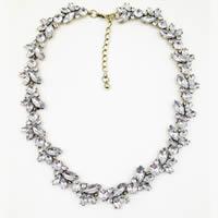 Акриловые ожерелья, цинковый сплав, с Акрил, с 1lnch наполнитель цепи, плакированный цветом под старое золото, Женский & со стразами, не содержит никель, свинец, Продан через Приблизительно 17 дюймовый Strand