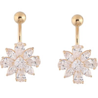 Stainless Steel Belly Ring, Flower, gold color plated, with cubic zirconia, 100-105mm, Sold By PC