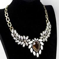 Акриловые ожерелья, цинковый сплав, с Акрил, с 1.5lnch наполнитель цепи, Покрытие под бронзу старую, Женский & граненый & со стразами, не содержит никель, свинец, Продан через Приблизительно 17.7 дюймовый Strand