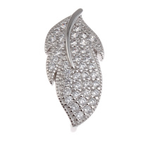 Brass Snap Clasp, Leaf, platinum color plated, micro pave cubic zirconia, nickel, lead & cadmium free, 10x23x10mm, Hole:Approx 3x2mm, Sold By PC