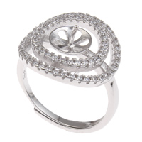 Brass Bezel Ring Base, platinum color plated, adjustable & micro pave cubic zirconia, nickel, lead & cadmium free, 20x23x18mm, Inner Diameter:Approx 3x1mm, US Ring Size:6.5, Sold By PC