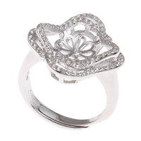 Brass Bezel Ring Base, Flower, platinum color plated, adjustable & micro pave cubic zirconia, nickel, lead & cadmium free, 21x24x19mm, Inner Diameter:Approx 3x1mm, US Ring Size:7.5, Sold By PC