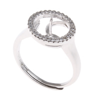 Brass Bezel Ring Base, platinum color plated, adjustable & micro pave cubic zirconia, nickel, lead & cadmium free, 20x23x12mm, Inner Diameter:Approx 3x1mm, US Ring Size:6.5, Sold By PC