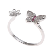 Brass Bezel Ring Base, Butterfly, platinum color plated, micro pave cubic zirconia, nickel, lead & cadmium free, 21x21x7mm, Inner Diameter:Approx 1x3mm, US Ring Size:6.5, Sold By PC